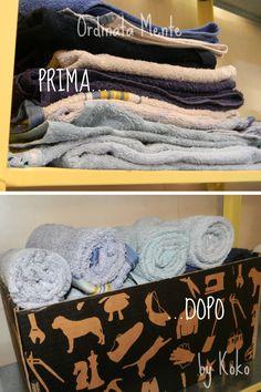 """Come tenere ordinati degli asciugamani """"da battaglia"""" (da utilizzare con i bimbi in caso di necessità: bagnetto, cambio pannolini, ecc...)"""