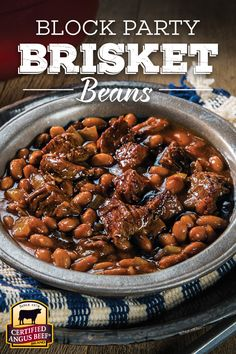 Party Brisket Beans - a perfect recipe for casual get-togethers or big game celebrations!Block Party Brisket Beans - a perfect recipe for casual get-togethers or big game celebrations! Baked Bean Recipes, Chili Recipes, Crockpot Recipes, Cooking Recipes, Smoker Recipes, Lentil Recipes, Yummy Recipes, Brisket Chili, Texas Brisket