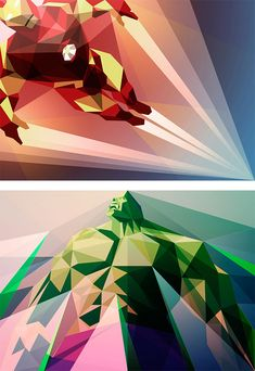 New Polygonal Illustrations by Liam Brazier #ironman #hulk #heroes #marvel #superheroes #digitalart