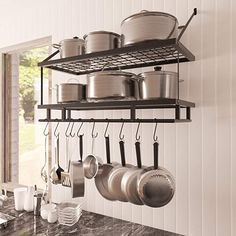 online shopping for KES Kitchen Pan Pot Rack Wall Mounted Hanging Storage Organizer Wall Shelf 12 Hooks Matte Black, from top store. See new offer for KES Kitchen Pan Pot Rack Wall Mounted Hanging Storage Organizer Wall Shelf 12 Hooks Matte Black, Pan Storage, Kitchen Pans, Kitchen Rack, Kitchen Wall, Kitchen Rack Design, Home Kitchens, Kitchen Wall Storage, Kitchen Design, Kitchen Pot