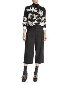 -6SDX Brunello Cucinelli Piuma Floral Pullover Sweater, Onyx/Vanilla Mid-Rise Monili-Trim Check Culotte Pants, Anthracite