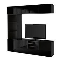 BESTÅ Combinaison rangt TV/vitrines - brun noir/Selsviken brillant/noir verre fumé, glissière tiroir, fermeture silence - IKEA
