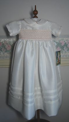 Antonia - A beautiful silk hand smocked Christening Gown with matching bonnet and petticoat, hand made, size 6 months, ready to ship on Etsy, $210.00