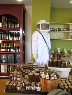 "Honey made at ""boutique beehives"" in fields in Galilee, Israel, sold in spice market."