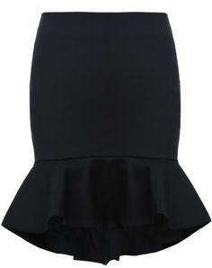 Black Ruffle High Low Bodycon Skirt
