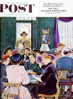 The Saturday Evening Post November 28 1953 George Hughes Vintage Americana Bridge Card Game, Journal Vintage, Magazine Art, Magazine Covers, Magazine Stand, Saturday Evening Post, Norman Rockwell, Artist Painting, Vintage Art