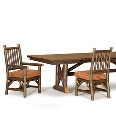 Rustic Dining Table #3492 & Rustic Arm Chairs #1204 by La Lune Collection