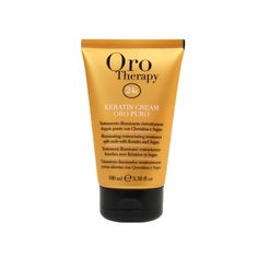 Fanola Oro Therapy 24k Keratin Cream 100ml Illuminating restructuring treatment split ends with Keratin, Argan oil and UV filter. Enriched with Micro-Active Gold, repairs split ends and protects the cuticle of dry, frizzy and treated hair, giving tone, body and smoothness. www.fanola.com.au Split Ends, Argan Oil, The 100, Therapy, Cream, Beauty Products, Filter, Gold, Hair