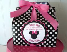 Minnie Mouse rosa y negro Favor Box-SET de cumpleaños de 15