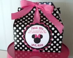 Minnie Mouse Pink & Black Birthday Favor Box-Set of 20