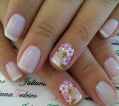 French Nail Designs, Nail Art Designs, Ombre Color, French Nails, Nails Inspiration, Pedicure, Hair And Nails, Flower Power, Nail Polish