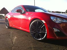 Scion FRS S7:F Gunmetal with Toyo Tires and Dropped with Eibach ProKit.