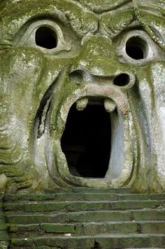 The park of Monsters of Bomarzo (not far from Viterbo and Orvieto) was designed by the architect Pirro Ligorio in 1552 on commision of Princ. The Places Youll Go, Places To See, Doorway, Italy Travel, Italy Trip, Abandoned Places, Portal, The Good Place, Beautiful Places