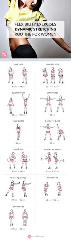Increase your flexibility with this set of dynamic stretching exercises. A 10 minute routine for women with music playlist, calorie calculator and timer. http://www.spotebi.com/workout-routines/flexibility-exercises-dynamic-stretching-routine-for-women/