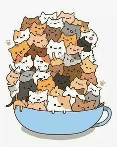 Count how many times to do it by how many cats there are in the cup! )A cup of strong catachino.) And some kawaii neko atsume kitties! Chat Kawaii, Kawaii Cat, Kawaii Shop, Kawaii Stuff, Kawaii Things, I Love Cats, Crazy Cats, Cute Cups, Cartoon Cartoon