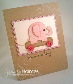 luv this die cut pink elephant on the kraft card...