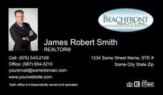 Beachfront Realty Business Cards - BRI-BC-070 - With Photo, Compact,  Small Size Photo, Black