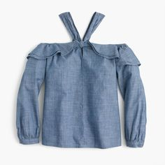 Tall Off-the-shoulder tie-neck top in chambray J Crew Style, Cashmere Sweaters, Mens Suits, Chambray, Off The Shoulder, Sleeves, Cotton, Shirts, Shopping