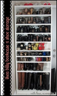 IKEA Billy Bookcase: 29 heels, 9 flats, 13 sandals, 4 ankle boots, 5 tall boots & 4 sneakers in square feet of floor space! exactly what I've been looking for - a shoe closet made out of a billy bookshelf. This is happening in my closet room! Ikea Shoe Storage, Closet Storage, Boot Storage, Shoe Storage In Garage, Shoe Storage Ideas For Small Spaces, Garage Closet, Shoe Storage Solutions, Laundry Storage, Car Garage