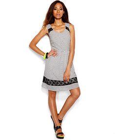 Bar III Sleeveless Printed Lace-Trim Dress - Dresses - Women - Macy's - $37