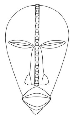 This image is designed to help you with drawing or tracing this African mask. Tiki Maske, African Art Projects, Art Africain, African Masks, Mask Design, Teaching Art, Colorful Pictures, Art Techniques, Art Images