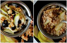 Overnight Steel Cut Oatmeal (with pear, walnuts, & pomegranate molasses) - Food, Pleasure, and Health