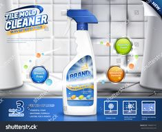 Tile mold cleaner ads, spray bottle with several efficacies in illustration, before and after comparison, bathroom scene Cleaning Mold, Cleaning Supplies, Home Security Tips, Security Tools, Design Plano, Alarm Systems For Home, Get Rid Of Mold, Blister Packaging, Food Packaging Design