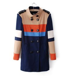 Womens Double Breasted Colors Patchwork Epaulettes Trench Coat Online Shop sale - Aupie