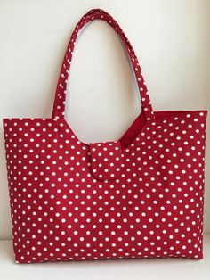 Red with white polka dot handbag by ARPCreations on Etsy