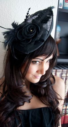 JOAN ON SALE Black Mesh Hat Feather Fascinator by EyeHeartMe, $44.00