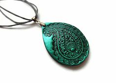 Paisley necklace, polymer clay jewelry in teal and black, teardrop, boho, India