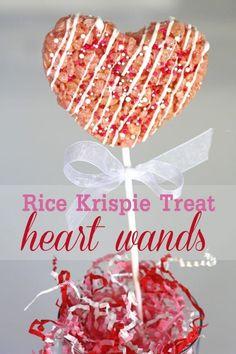 {DIY} How to Make Rice Krispie Treat Heart Wands   Catch My Party Rice Crispy Treats, Krispie Treats, Rice Krispies, Holiday Desserts, Holiday Treats, Holiday Fun, Valentines Day Treats, Kids Valentines, Funny Valentine