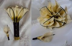 Real Touch Ivory Calla lilies Wedding Bouquet  with Matching Boutonniere