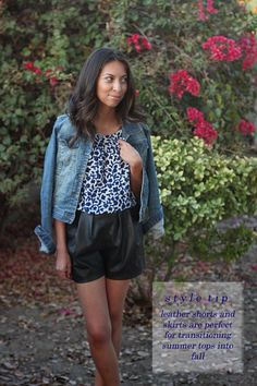 jean jacket, blue floral top, leather shorts