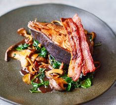 Red wine poached halibut with bacon & mushrooms