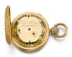 A LARGE AND HEAVY GOLD TRIPLE CALENDAR TWO TRAIN PIVOTED DETENT POCKET CHRONOMETER WITH DEAD CENTRE SECONDS AND QUARTER REPETITION MADE FOR THE RUSSIAN MARKET CIRCA 1850, NO. 31226 [[ 大型黃金全日曆二問懷錶備跳秒指針及雙傳動樞軸式天文鐘擒縱系統,為俄羅斯市場製造,年份約1850,編號31226]] | Masterworks of Time: Splendours for the East 「時間傑作:西器東傳」2020 | Sotheby's White Enamel, Pocket Watch, Bracelet Watch, Jewels, Band, Pendant, Accessories, Sash, Jewerly