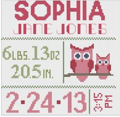 Customized Cross Stitch for Baby - Pattern - Owls