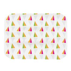 "Apple Kaur Designs ""Triangles"" Orange White Place Mat"