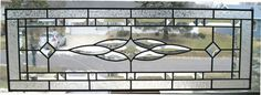 Vintage Design Window. Clear Beveled Stained Glass Leaded Design Transom Sidelight