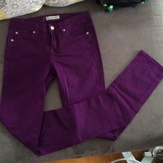 Purple Skinny Jeans NWOT Gorgeous purple skinny jeans, bought from Shop Hope's, tag says Cielo. Size 7. Great pants, just didn't like the color on me. Never worn, just tried on. Shop Hope's Pants