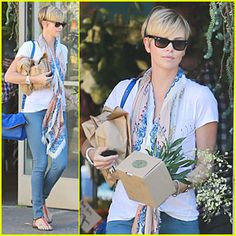 Charlize Theron is cute and casual while buying some flowers at Moe's Flowers in West Hollywood, Calif.