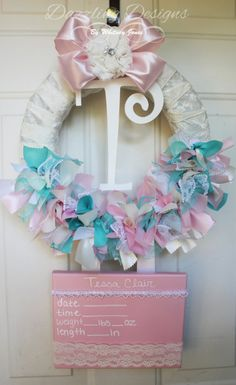Hospital door hangers on pinterest hospital door for Baby girl hospital door decoration