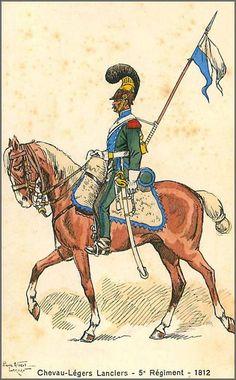 Leroux - Histoire du costume 1810-1812 - Les costumes militaires -1812 - 5eme Régiment de Chevau-Légers Lanciers
