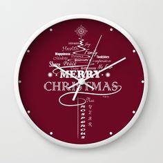 The Wishing Christmas Tree Wall Clock by weivy Wall Clock Frame, White Frames, Xmas, Christmas Tree, Unique Wall Clocks, Presents For Friends, My Themes, Tree Wall, Natural Wood
