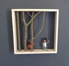 Shadow box woodland theme needle felted