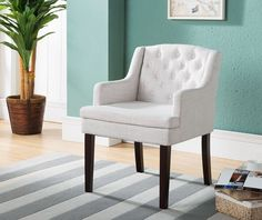 Kings Brand Furniture Tufted Back Accent Chair With Arms, Cream White / Cherry