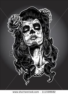 Day of The Dead Woman with Sugar Skull Face Paint