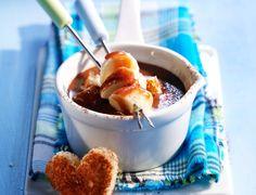 La fondue de Mars aux bananes Tostadas, Chocolate Fondue, Parfait, French Toast, Oatmeal, Mars, Pudding, Cheese, Breakfast