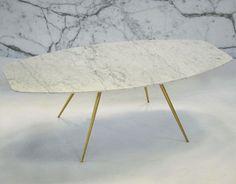 Table basse / contemporaine / en laiton / en marbre SOLINAS Slim by Fábio Teixeira TCC Whitestone