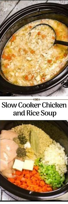 Slow Cooker Chicken and Rice Soup #slow #SoupRecipe